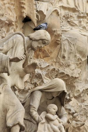 Intricate Carvings on the Nativity Facade of the Sagrada Familia in the Heart of Barcelona, Spain