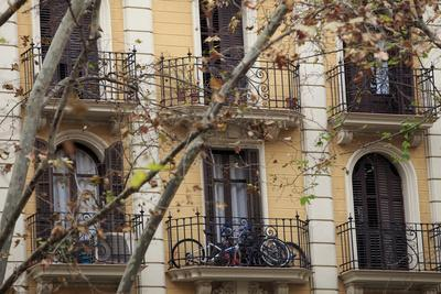Small Apartments with Patios are a Common Sight in Downtown Barcelona, Spain