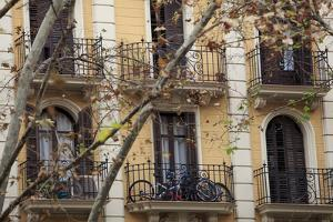 Small Apartments with Patios are a Common Sight in Downtown Barcelona, Spain by Paul Dymond