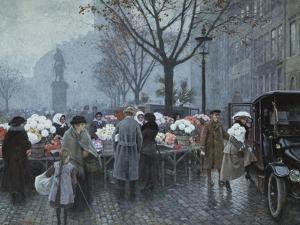 A Flower Market, Hojbroplads, Copenhagen by Paul Fischer