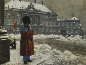 A Royal Life Guard on Duty Outside the Royal Palace Amalienborg, Copenhagen by Paul Fischer