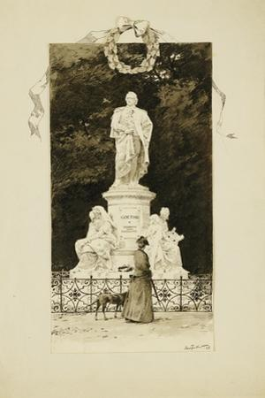 An Elegant Lady at the Statue of Goethe, 1888
