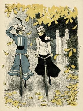 Girls Cycling, Autumn by Paul Fischer