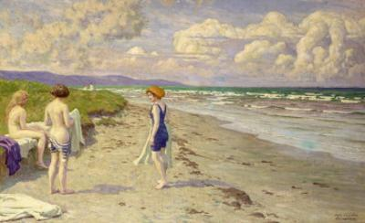 Girls Preparing to Bathe on the Beach