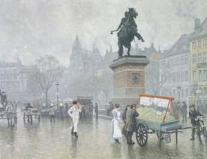 Hojbro Square in Copenhagen by Paul Fischer