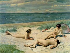 Nude Bathers on the Beach by Paul Fischer