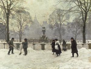 Snow Scene in the Kongens Nytorv, Copenhagen by Paul Fischer