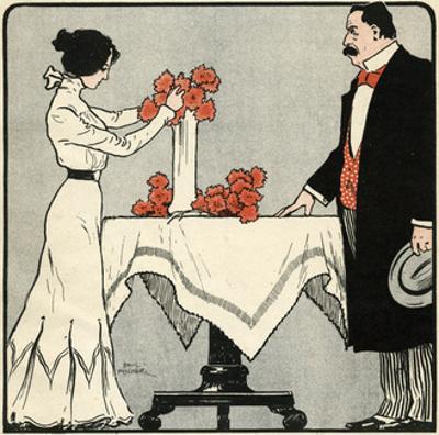 Wife Arranges Flowers