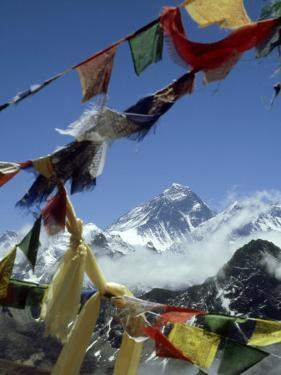 Mount Everest and Prayer Flags, Nepal by Paul Franklin