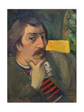 Autoportrait a l'idole-Self-portrait with Tahitian idol,1890,1893 (?) Canvas,43 x 32 cm Inv.1950.46 by Paul Gauguin