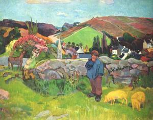 Paul Gauguin (Breton landscape with swineherd) Art Poster Print