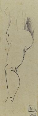 Croquis de femme nue, de profil à gauche by Paul Gauguin
