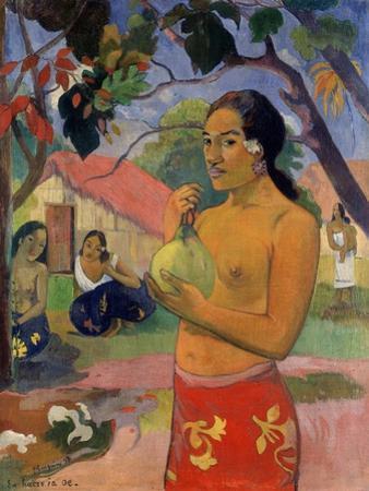 Eu Haere Ia Oe (Woman Holding a Fruit. Where are You Going), 1893 by Paul Gauguin