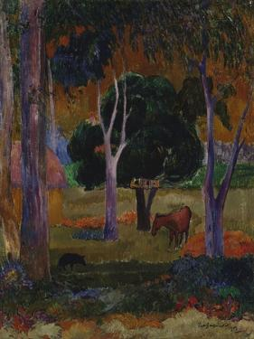 Hiva Oa (Landscape with a Pig and a Hors) by Paul Gauguin