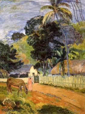 Horse on Road, Tahitian Landscape, 1899 by Paul Gauguin