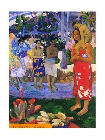 I greet you, Maria. Landscape with yellow angel, praying women, Maria and Jesus as Tahitians. by Paul Gauguin