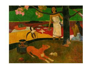 Pastorales tahitiennes (Tahitian idyll). Two women in idyllic scenery with orange dog. by Paul Gauguin