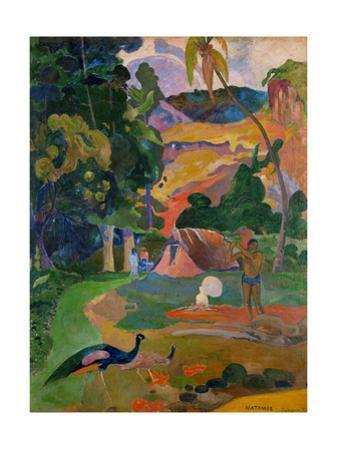 Path, hut, and a working man, peacocks in the foreground. Oil on canvas (1892) 115 x 86 cm. by Paul Gauguin