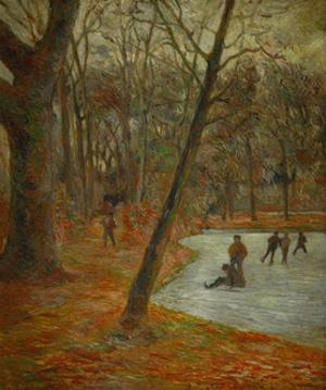 Patineurs dans le parc de Frederiksberg, 1884 Sklaters in the park in Frederiksberg. Canvas by PAUL GAUGUIN