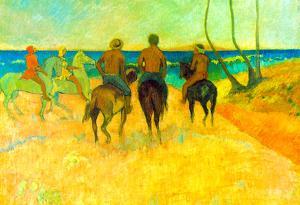 Paul Gauguin Riding on the Beach #2 Art Print Poster
