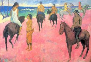 Paul Gauguin Riding on the Beach Art Print Poster