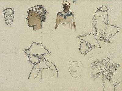 Sketches of Figures and Foliage by Paul Gauguin