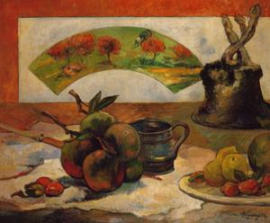 Still-life with fruits and fan. Oil on canvas (about 1888) 50 x 61 cm Cat. W 377. by PAUL GAUGUIN
