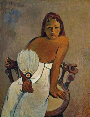 'The Girl with a Fan', 1902 by Paul Gauguin