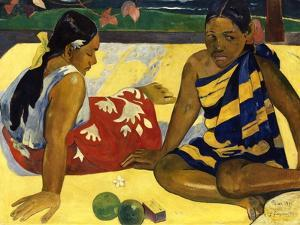 Two Woman of Tahiti. Parau Api (What's New?) 1892 by Paul Gauguin