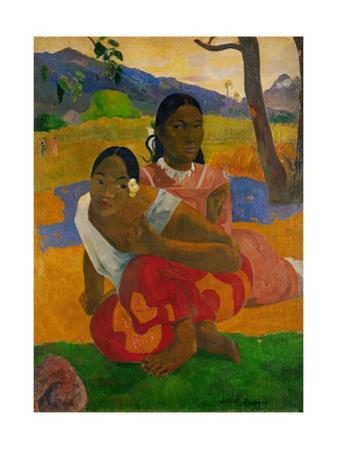 Two young Tahitian women, crouching on the ground. Oil on canvas (1892) 105 x 77.5 cm Cat. W 454. by Paul Gauguin