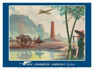 Asia - Wings Over the World - Pan American Airways System - Chinese Pagoda by Paul George Lawler
