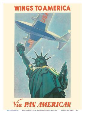 Wings to America - Via Pan American Airways - Statue of Liberty, New York by Paul George Lawler