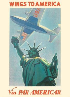 Wings to America - Via Pan American Airways - Statue of Liberty, New York by Paul George Lawler