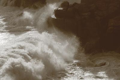 Rolling Waves Against Cliffs by Paul Gillard