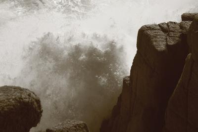 Wave Hits Rocks in Cornwall by Paul Gillard