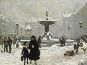 A Winter Day in Gammeltorv, Copenhagen, 1917 by Paul Gustav Fischer