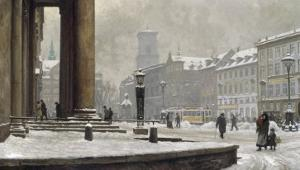 Figures entering the Law Courts, Nytorv Copenhagen, 1924 by Paul Gustav Fischer
