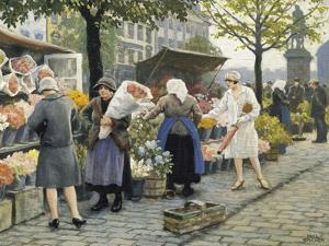 Flower Market at Hojbro Plads by Paul Gustav Fischer