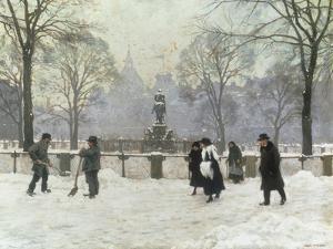 Snow Scene in the Kongens Nytorv, Copenhagen by Paul Gustav Fischer