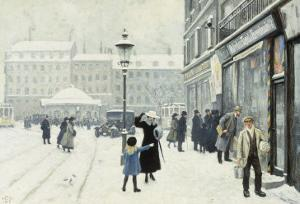 The Osterbrogade in Winter, 1918 by Paul Gustav Fischer