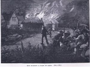 Mob Burning a Farm in Kent in 1830 by Paul Hardy