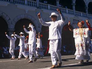 State of Yucatan, Merida, Participants in a Folklore Dance in the Main Square of Merida, Mexico by Paul Harris