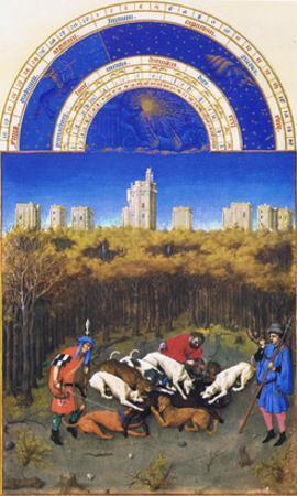 Le Tres Riches Heures Du Duc De Berry - December by Paul Herman & Jean Limbourg