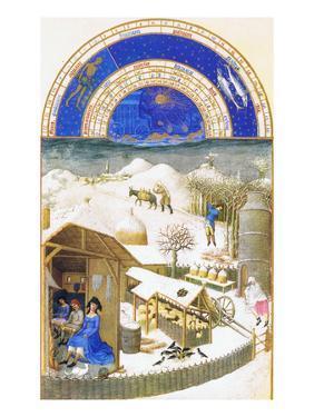 Le Tres Riches Heures Du Duc De Berry - February by Paul Herman & Jean Limbourg