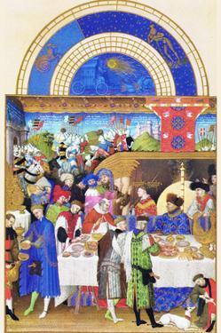 Le Tres Riches Heures Du Duc De Berry - January by Paul Herman & Jean Limbourg