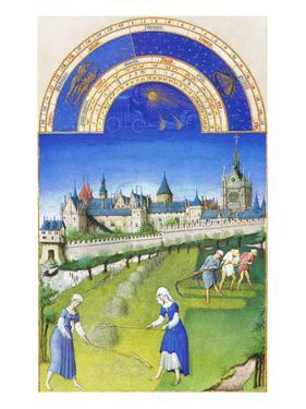 Le Tres Riches Heures Du Duc De Berry - June by Paul Herman & Jean Limbourg