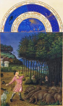 Le Tres Riches Heures Du Duc De Berry - November by Paul Herman & Jean Limbourg