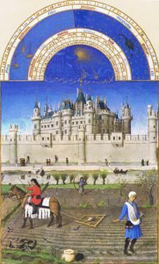 Le Tres Riches Heures Du Duc De Berry - October by Paul Herman & Jean Limbourg