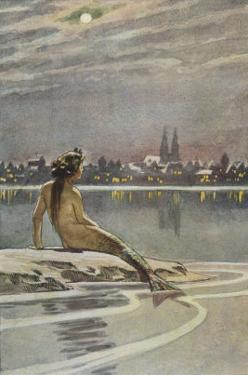 The Little Mermaid Sits on a Rock and Gazes at the Lights of the Distant Town by Paul Hey