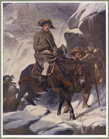 He Crosses the Snow-Covered Saint-Bernard Pass into Italy on Horseback 1800 by Paul Hippolyte Delaroche